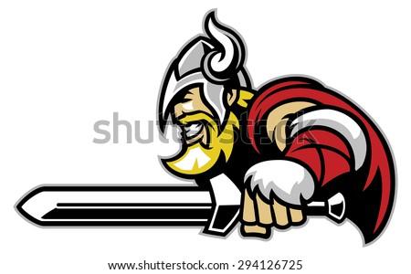 angry viking mascot with big sword - stock vector