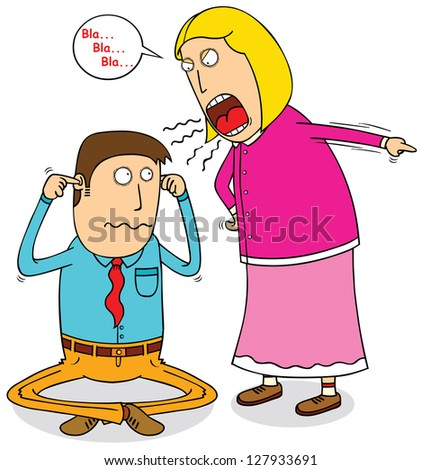 angry wife - stock vector