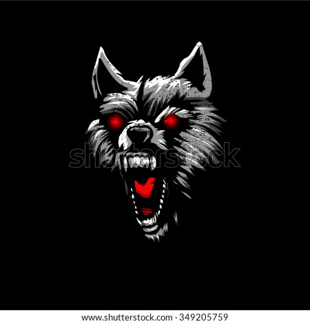 Angry black wolf red eyes - photo#10