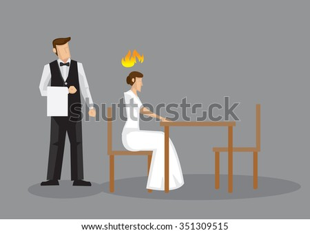 Angry woman sitting alone in a restaurant with a waiter standing behind her. Vector illustration isolated on grey background.  - stock vector