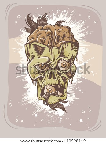 Angry zombie character with eye in it's mouth. Sepia halloween poster. - stock vector