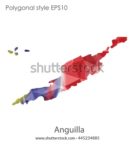Anguilla map in geometric polygonal style.Abstract gems triangle,modern design background.Vector Illustration EPS10