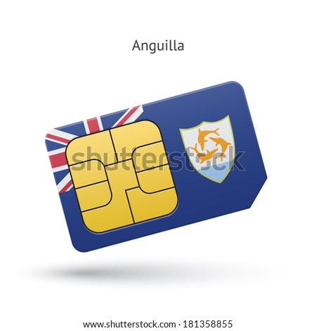 Anguilla mobile phone sim card with flag. Vector illustration.