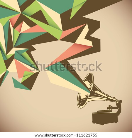 Angular abstraction with old gramophone. Vector illustration. - stock vector