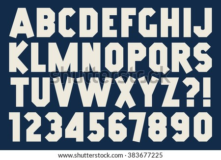 Angular alphabet and number Bold isolated font Sport printing style Strip design Vector abc - stock vector