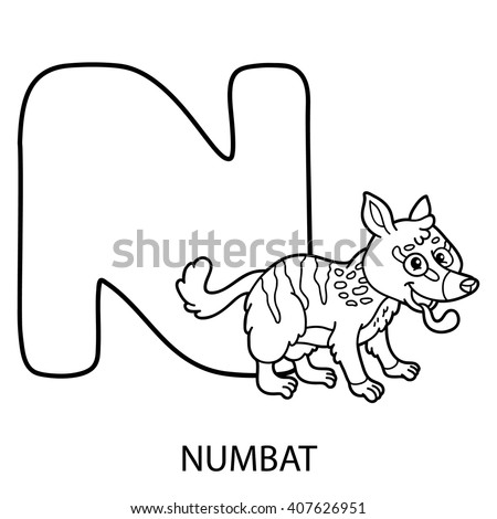 Cute Children Zoo Alphabet N Letter Stock Vector 453607924