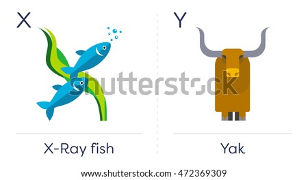 animal alphabet english letters for children a x ray fish and an yak