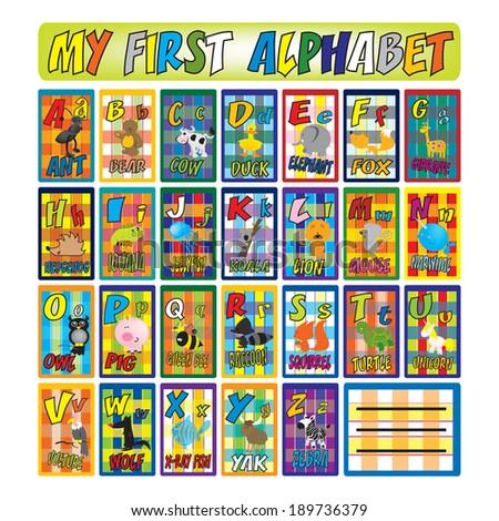 animal alphabet for kids - stock vector