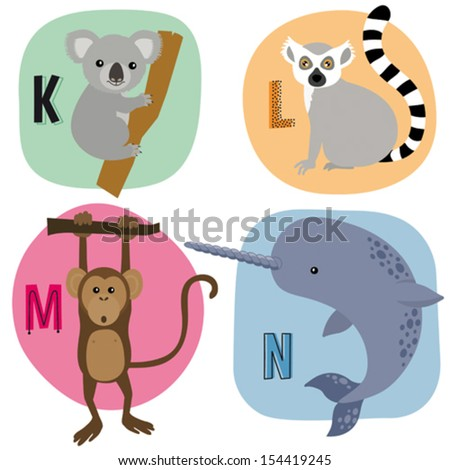 Animal alphabet for kids K-N