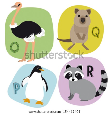 Animal alphabet for kids O-R