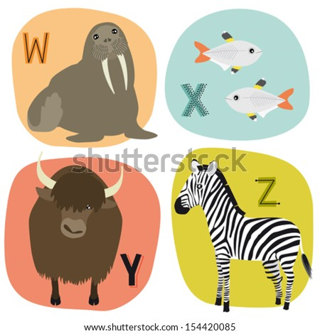 Animal alphabet for kids W-Z