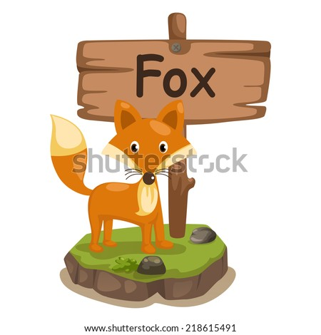 animal alphabet letter F for fox illustration vector - stock vector