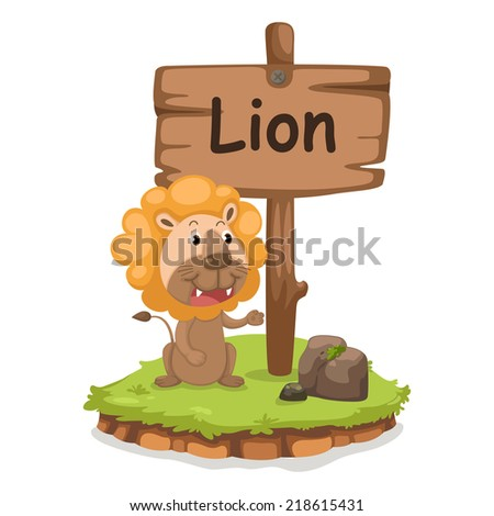 animal alphabet letter L for lion illustration vector - stock vector