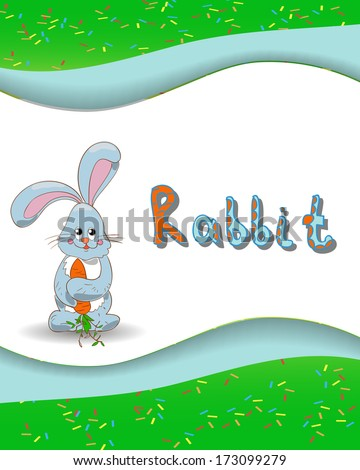 ... alphabet letter R and rabbit with a colored background - stock vector