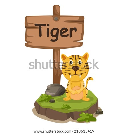 animal alphabet letter T for tiger illustration vector - stock vector