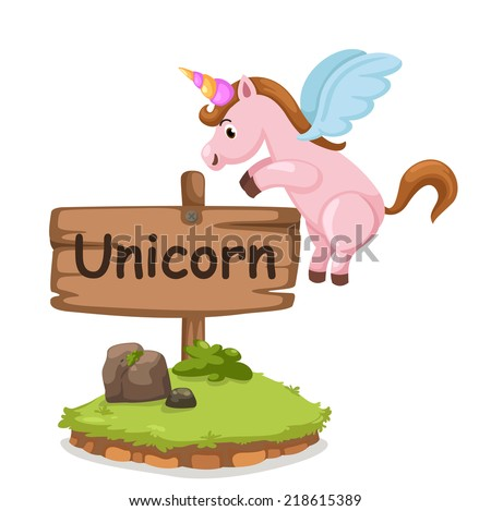 animal alphabet letter U for unicorn illustration vector - stock vector