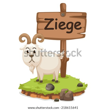 animal alphabet letter z for ziege illustration vector - stock vector