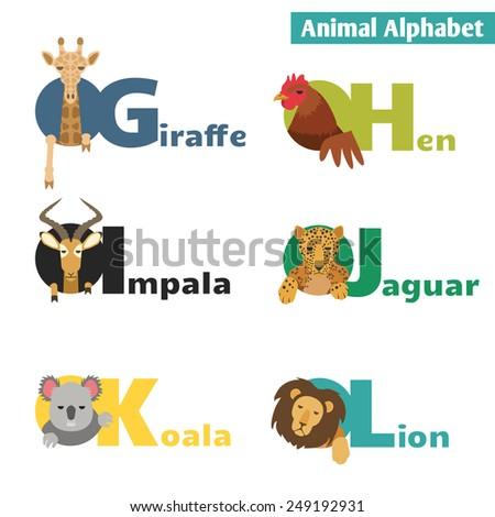 Animal alphabet. Letters G H I J K L Vector Illustration - stock vector