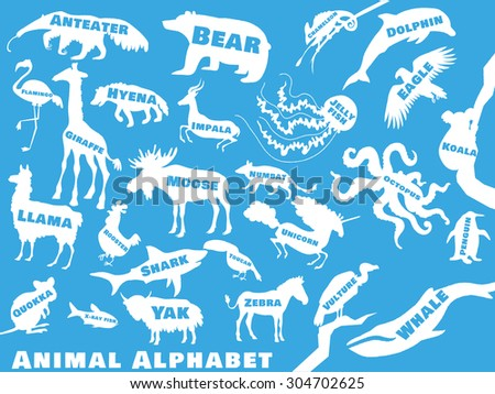 Animal alphabet poster for children. Animal silhouettes with names and letters inside. Poster concept. From a to z . Vector illustration - stock vector