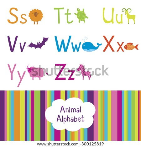 Animal alphabet, S-Z letters  - stock vector
