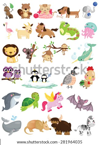 Animal Alphabet Vector Set - stock vector