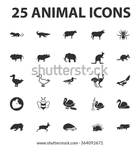 animal and beast 25 black simple icons set for web design - stock vector