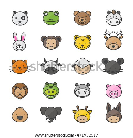 Animal Cartoon Characters Set Pets Color Stock Vector 471952517 ...