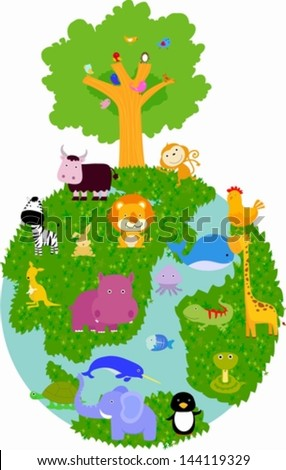 Animal and globe - stock vector