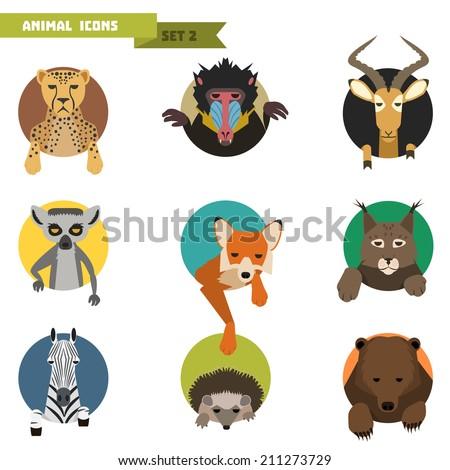 Animal avatars set with flat design. Vector Illustration - stock vector