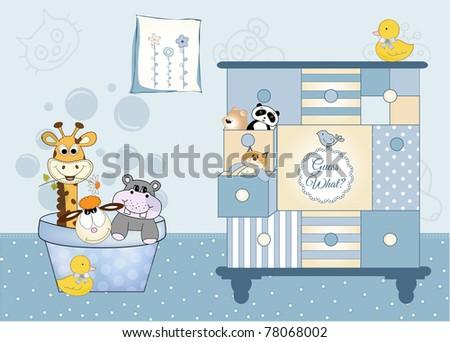 animal baby shower - stock vector