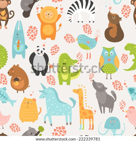 Animal background with cute bird, alligator, dog, hen, jellyfish, rabbit, owl, zebra, vole, wolf, unicorn, lion, koala, monkey, giraffe, panda and cat. Zoo love seamless pattern - stock vector