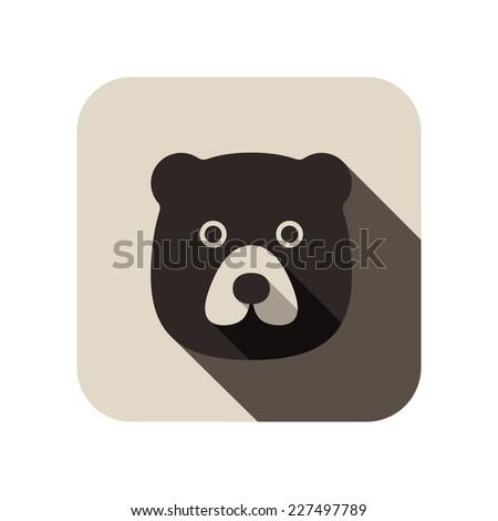animal bear flat icon - stock vector