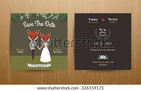 Animal bride and groom cartoon wedding invitation card on wood background