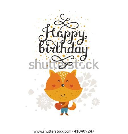 Animal card happy birthday card kids stock vector hd royalty free animal card happy birthday card kids birthday party animal greeting card with fox bookmarktalkfo Gallery
