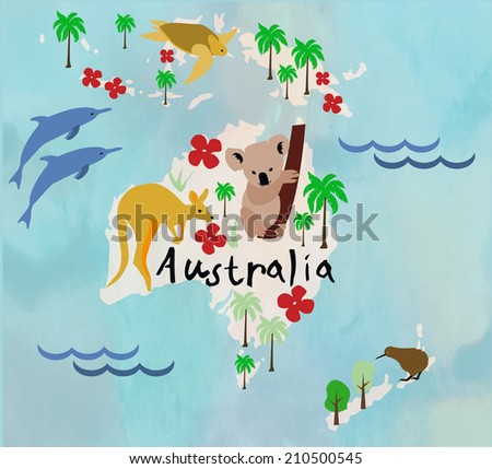Animal cartoon map. Australia.