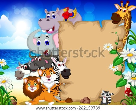 animal cartoon with blank sign and tropical beach background - stock vector