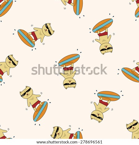 animal cat summer cartoon , cartoon seamless pattern background