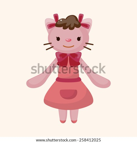 animal cat waiter cartoon theme elements - stock vector