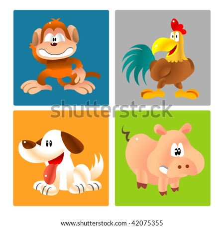 animal character 3 - stock vector