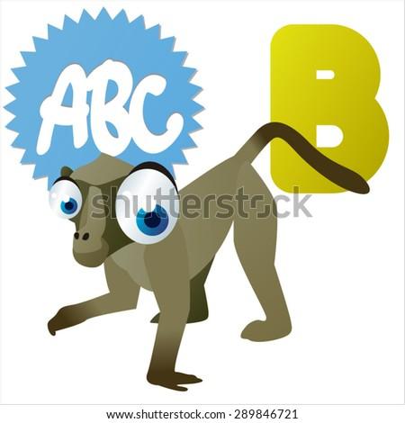 animal children alphabet: B is for Baboon - stock vector