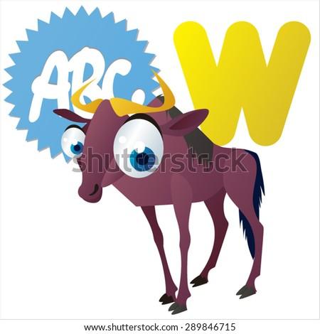 animal children alphabet: W is for Wildebeest - stock vector