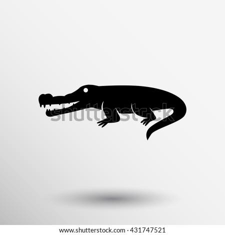 animal crocodile design icon wildlife illustration on white background  - stock vector