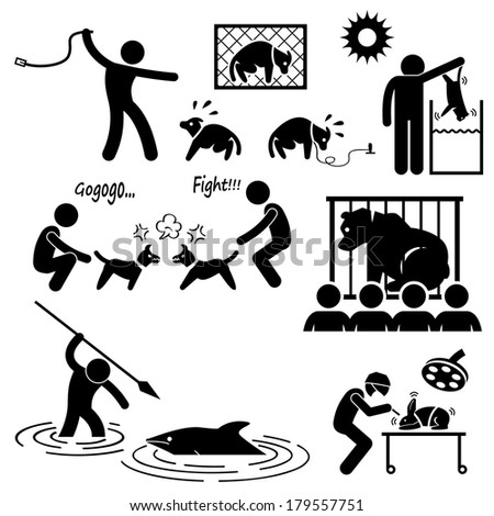 Animal Cruelty Abuse by Human Stick Figure Pictogram Icon - stock vector