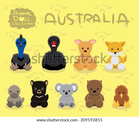 Animal Dolls Australia Set Cartoon Vector Illustration - stock vector