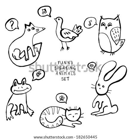 Animal doodles - stock vector