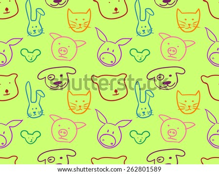 Animal doodles vector seamless pattern. Cat, dog, bear, rabbit, mouse and pig - stock vector