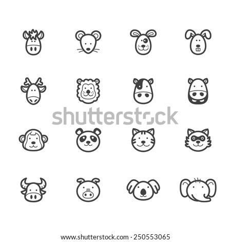 animal element vector black icon set on white background - stock vector