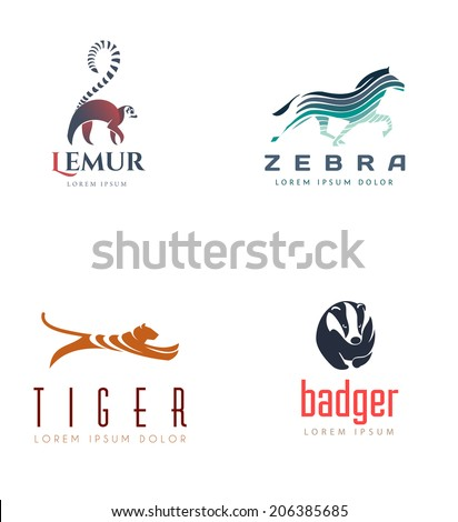 Animal Emblem Collection. Isolated On White Background - Vector Illustration, Logo Design Elements. - stock vector