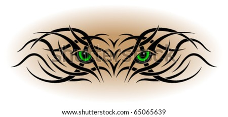 Animal eyes in the form of a tribal tattoo - stock vector