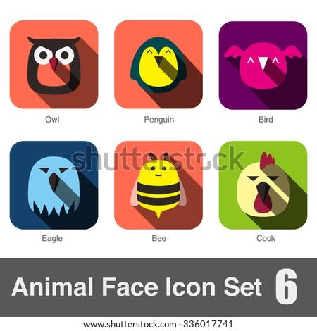 Animal face flat icon, Vector - stock vector
